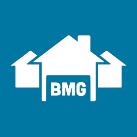 BMG logo white and blue